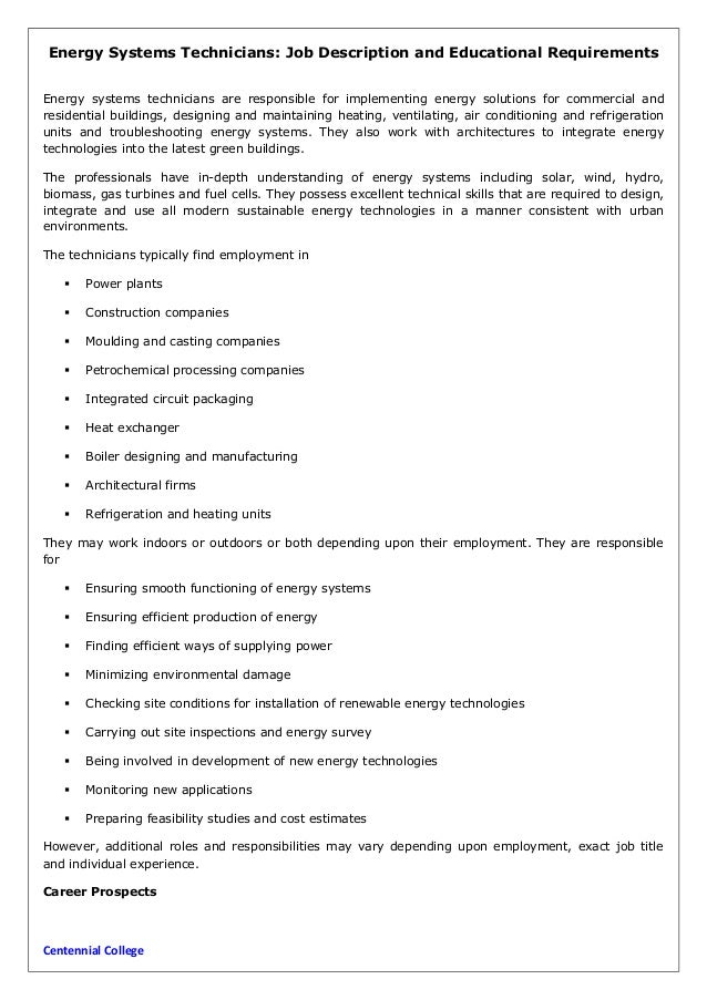 energy systems technicians job description and educational