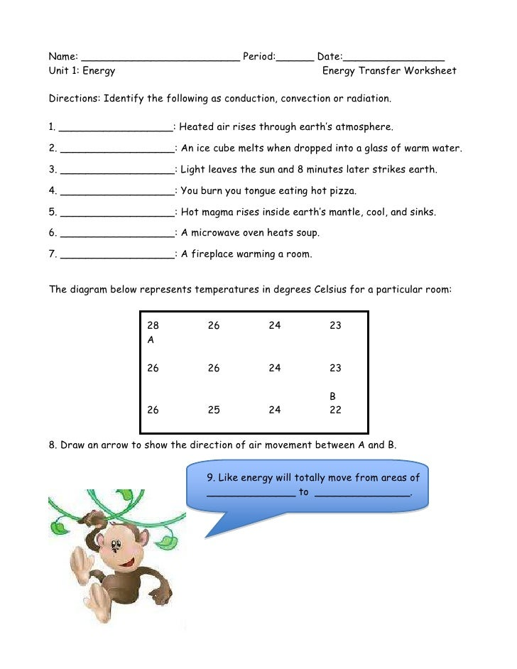 Energy Transfer Worksheet – Heat Transfer Worksheet