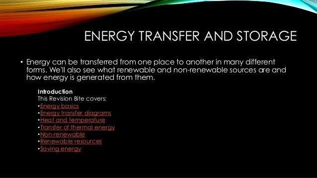 Energy Transfer And Storage