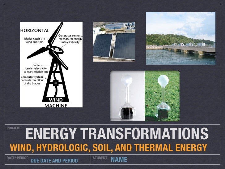 ENERGY TRANSFORMATIONS PROJECT      WIND, HYDROLOGIC, SOIL, AND THERMAL ENERGY DATE/ PERIOD                         STUDEN...
