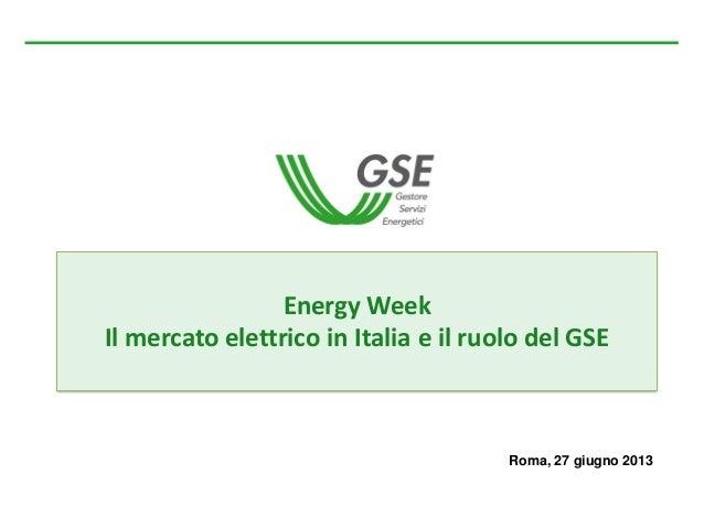 Il mercato elettrico in Italia e il ruolo del GSE - Sustainable Enegy Week GSE