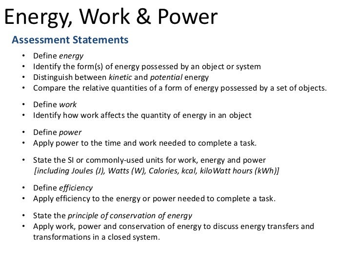 work, power, and energy essay Ocr maths m2 topic questions from papers energy, work and power answers physicsandmathstutorcom.