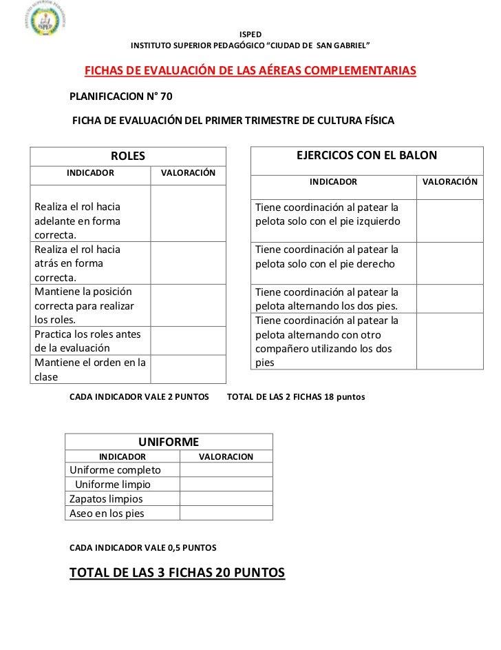 """ISPED                    INSTITUTO SUPERIOR PEDAGÓGICO """"CIUDAD DE SAN GABRIEL""""          FICHAS DE EVALUACIÓN DE LAS AÉREAS..."""