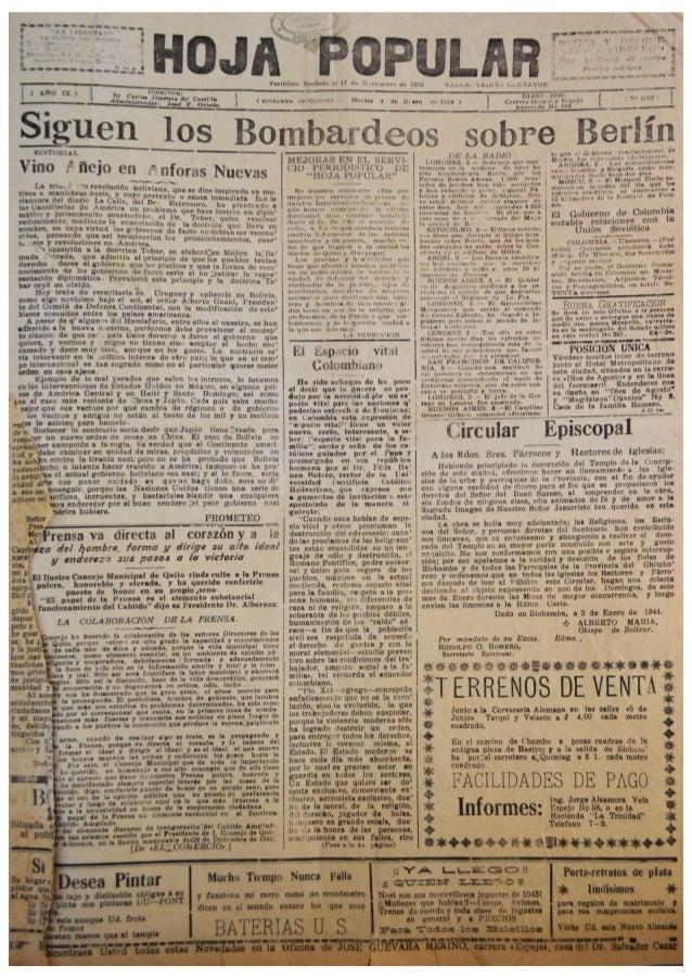 """El Periódico """"Hoja Popular"""" del mes Enero de  1944"""