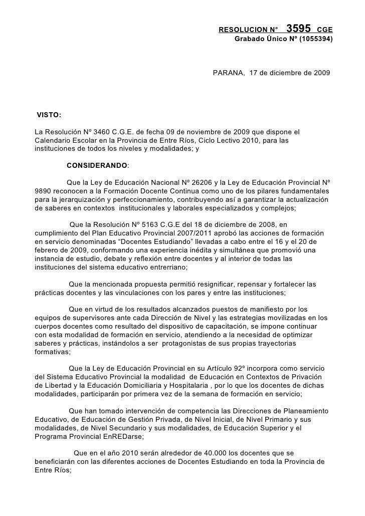 RESOLUCION N° 3595 CGE                                                             Grabado Único Nº (1055394)             ...
