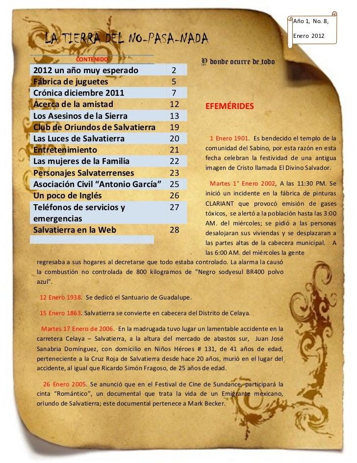 Año 1, No. 8,  LA TIERRA DEL NO-PASA-NADA                                                             Enero 2012          ...