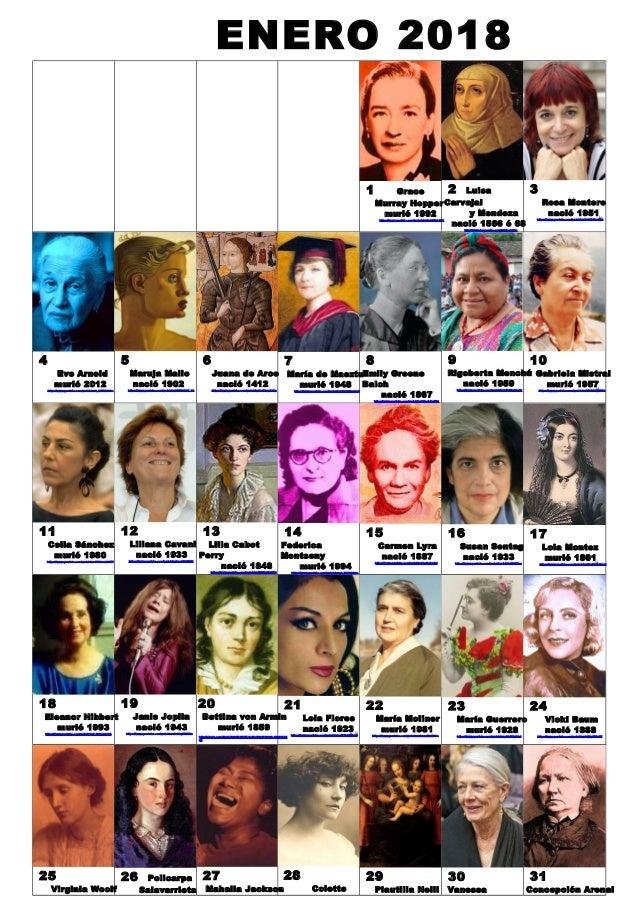 ENERO 2018 1 Grace Murray Hopper muri� 1992 https://www.youtube.com/watch?v=Fg82iV-L8ZY 2 Luisa Carvajal y Mendoza naci� 1...