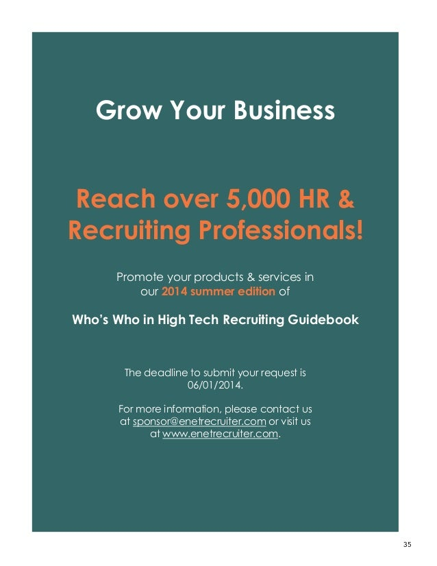 Recruiting Resource for Hiring Managers: Who\'s Who in High Tech Recru…