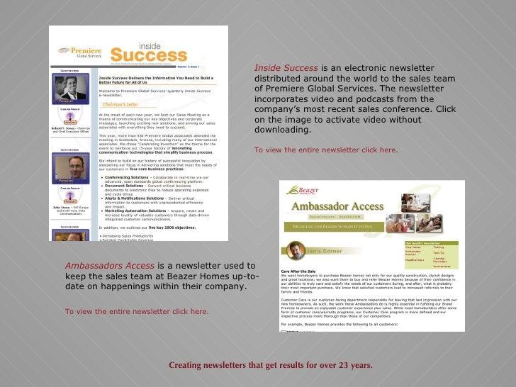 Sample Newsletters