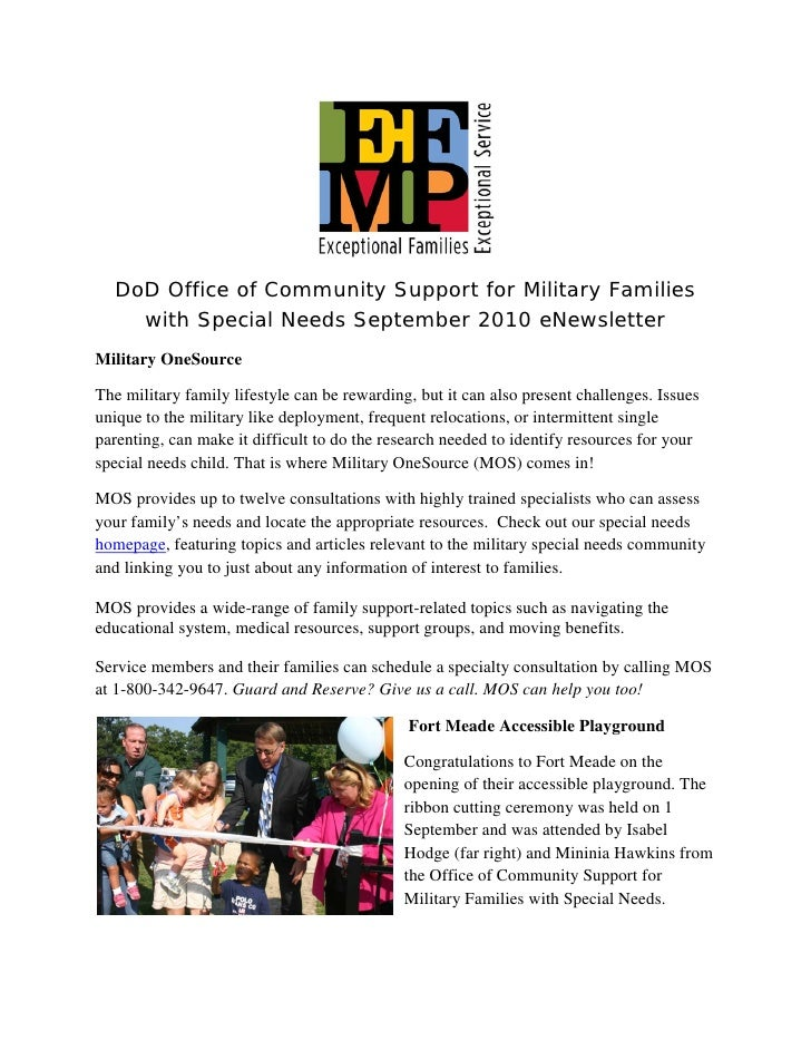 DoD Office of Community Support for Military Families     with Special Needs September 2010 eNewsletter Military OneSource...