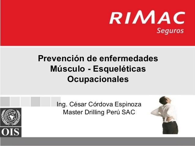 Prevención de enfermedades Músculo - Esqueléticas Ocupacionales Prevención de enfermedades Músculo - Esqueléticas Ocupacio...