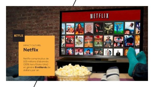 Netflix IMPACT CULTUREL Netflix compte plus de 103 millions d'abonnés (35% hors Etats-Unis) et gènère 9 milliards de dolla...