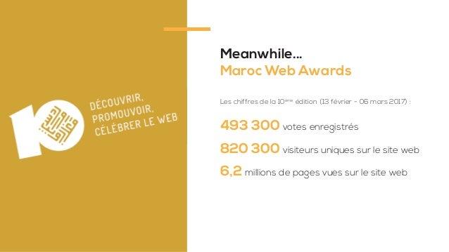 Meanwhile... Maroc Web Awards 493 300 votes enregistrés 820 300 visiteurs uniques sur le site web 6,2 millions de pages vu...