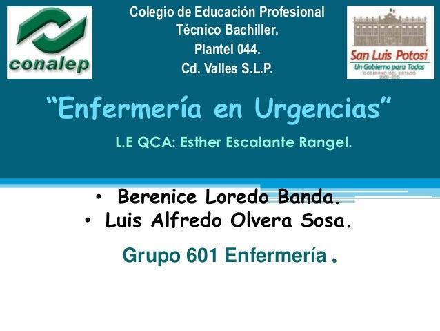 "Colegio de Educación ProfesionalTécnico Bachiller.Plantel 044.Cd. Valles S.L.P.""Enfermería en Urgencias""L.E QCA: Esther Es..."