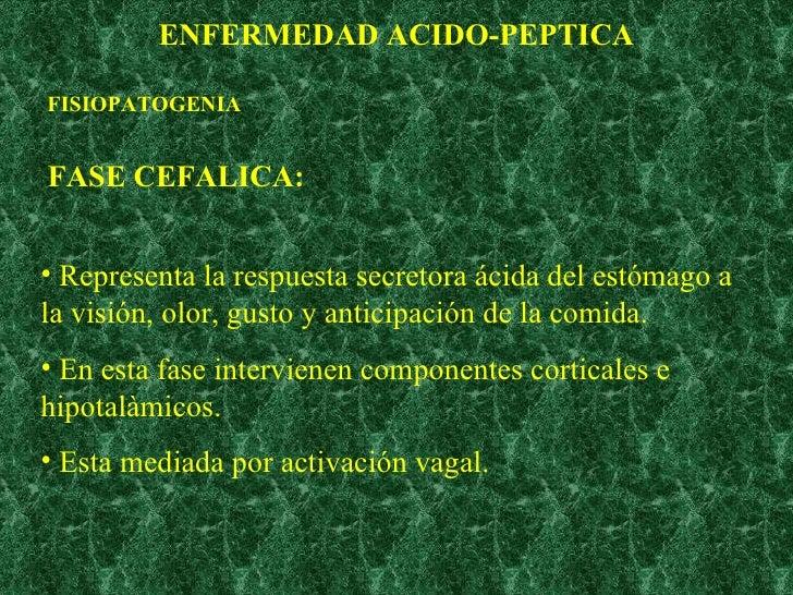 ENFERMEDAD ACIDO-PEPTICA FASE CEFALICA: <ul><li>Representa la respuesta secretora ácida del estómago a la visión, olor, gu...