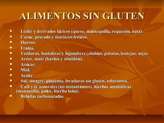 2012 09 12 enfermedad cel aca ppt - Lista alimentos con gluten ...