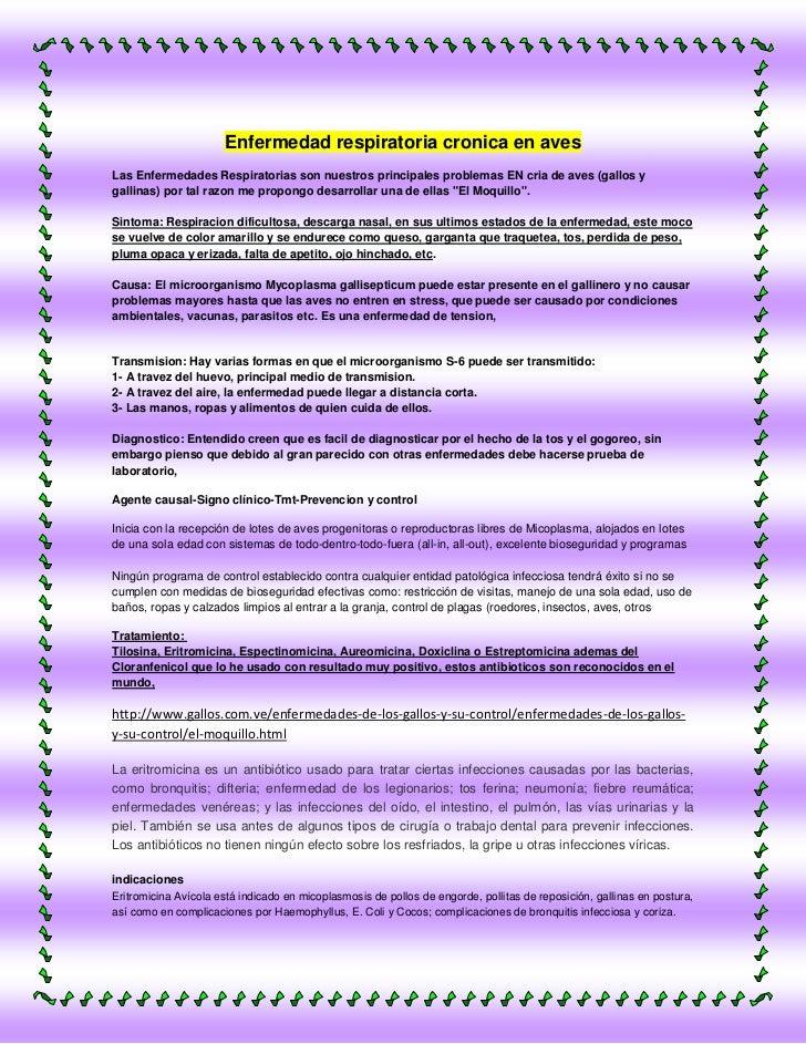 Enfermedad respiratoria cronica en avesLas Enfermedades Respiratorias son nuestros principales problemas EN cria de aves (...