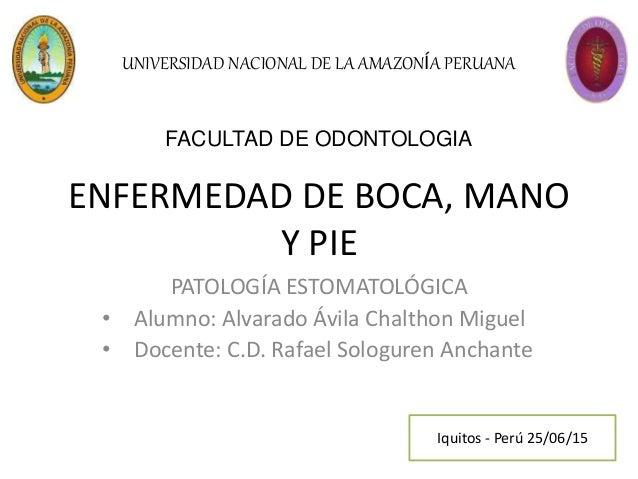 ENFERMEDAD DE BOCA, MANO Y PIE PATOLOGÍA ESTOMATOLÓGICA • Alumno: Alvarado Ávila Chalthon Miguel • Docente: C.D. Rafael So...