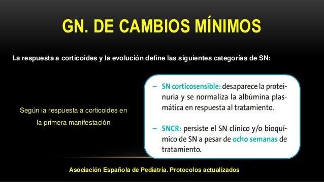 GN. DE CAMBIOS MÍNIMOS Según el curso evolutivo La respuesta a corticoides y la evolución define las siguientes categorías...