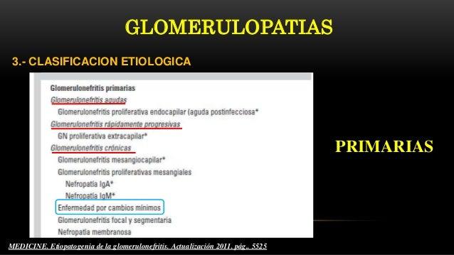 3.- CLASIFICACION ETIOLOGICA MEDICINE. Etiopatogenia de la glomerulonefritis. Actualización 2011. pág.. 5525 PRIMARIAS GLO...