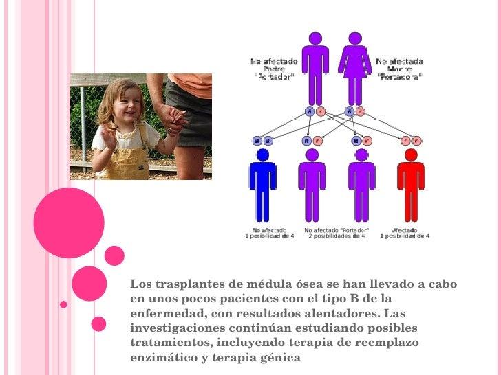 Los trasplantes de médula ósea se han llevado a cabo en unos pocos pacientes con el tipo B de la enfermedad, con resultado...