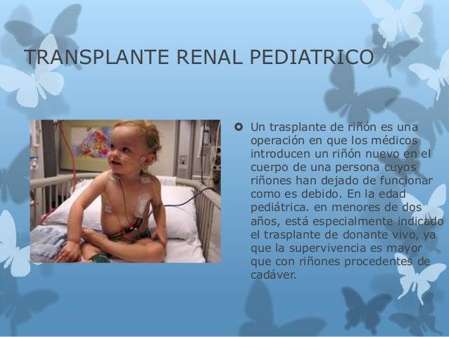 TRANSPLANTE RENAL PEDIATRICO  Un trasplante de riñón es una operación en que los médicos introducen un riñón nuevo en el ...