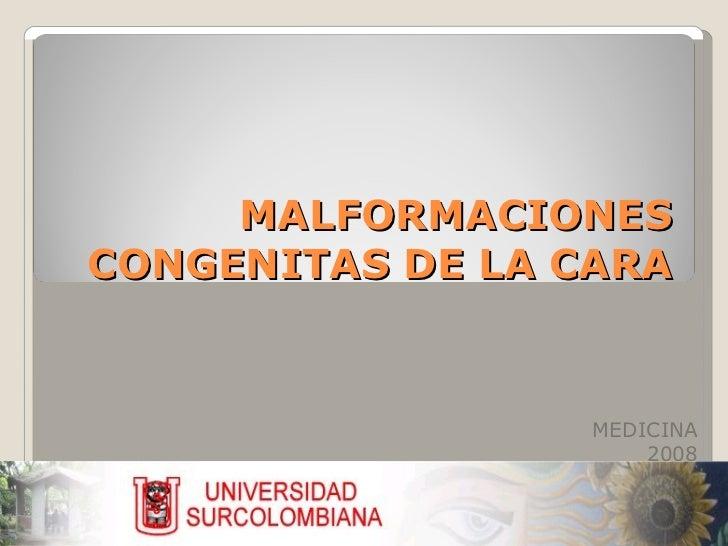 MALFORMACIONES CONGENITAS DE LA CARA MEDICINA 2008