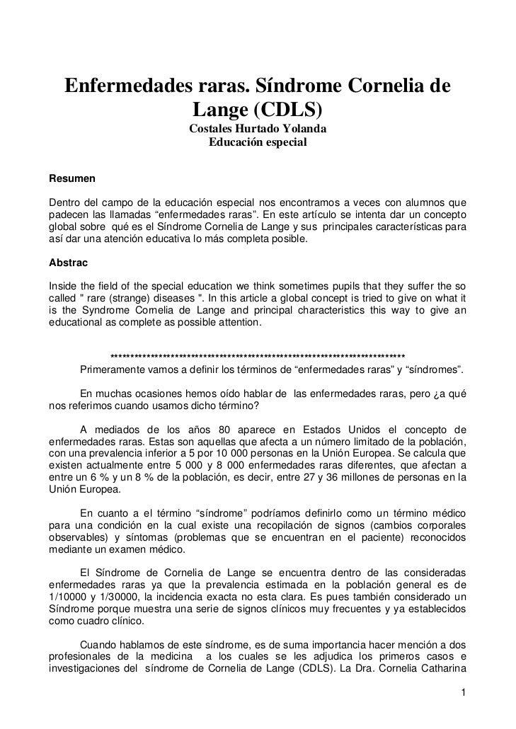 Enfermedades raras. Síndrome Cornelia de               Lange (CDLS)                                Costales Hurtado Yoland...