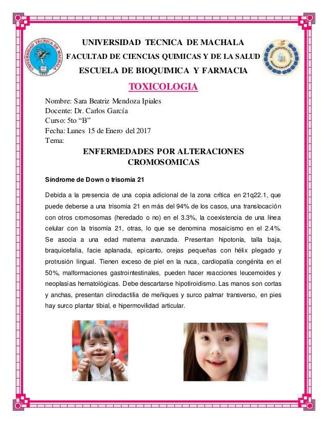 UNIVERSIDAD TECNICA DE MACHALA FACULTAD DE CIENCIAS QUIMICAS Y DE LA SALUD ESCUELA DE BIOQUIMICA Y FARMACIA TOXICOLOGIA No...