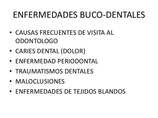 ENFERMEDADES BUCO-DENTALES • CAUSAS FRECUENTES DE VISITA AL ODONTOLOGO • CARIES DENTAL (DOLOR) • ENFERMEDAD PERIODONTAL • ...
