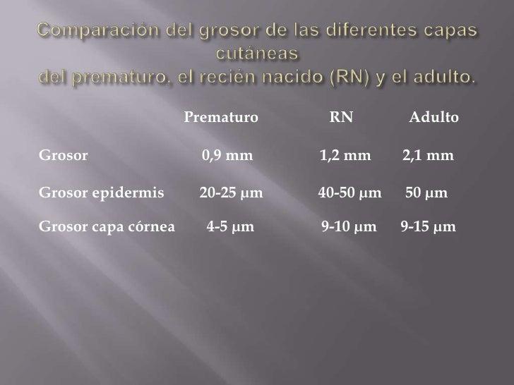Comparación del grosor de las diferentes capas cutáneasdel prematuro, el recién nacido (RN) y el adulto.<br />            ...