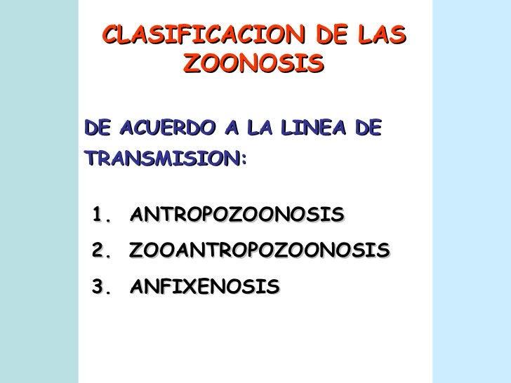 CLASIFICACION DE LAS ZOONOSIS 1.  ANTROPOZOONOSIS  2.  ZOOANTROPOZOONOSIS 3.  ANFIXENOSIS DE ACUERDO A LA LINEA DE TRANSMI...