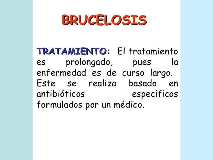 BRUCELOSIS TRATAMIENTO:   El tratamiento es prolongado, pues la enfermedad es de curso largo.  Este se realiza basado en a...