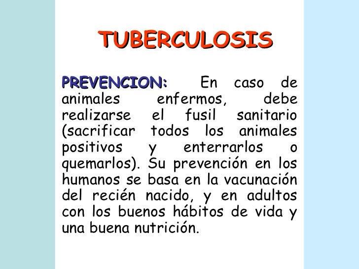 TUBERCULOSIS PREVENCION:   En caso de animales enfermos, debe realizarse el fusil sanitario (sacrificar todos los animales...