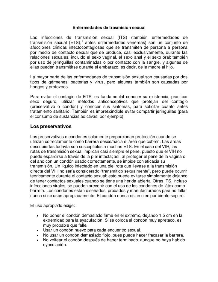 Enfermedades de trasmisión sexualLas infecciones de transmisión sexual (ITS) (también enfermedades detransmisión sexual (E...