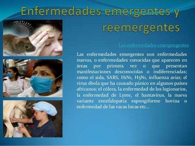 Las enfermedades emergengentes Las enfermedades emergentes son enfermedades nuevas, o enfermedades conocidas que aparecen ...