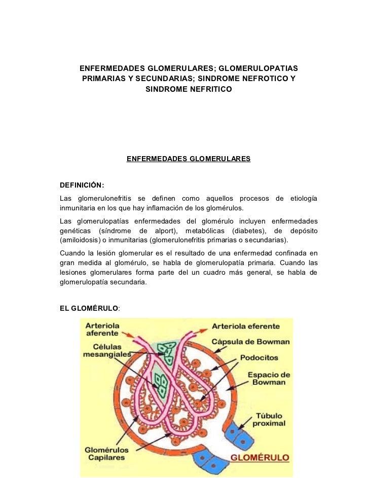 ENFERMEDADES GLOMERULARES; GLOMERULOPATIAS     PRIMARIAS Y SECUNDARIAS; SINDROME NEFROTICO Y                   SINDROME NE...