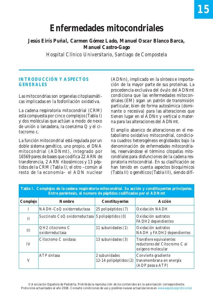 15                      Enfermedades mitocondriales      Jesús Eirís Puñal, Carmen Gómez Lado, Manuel Oscar Blanco Barca, ...