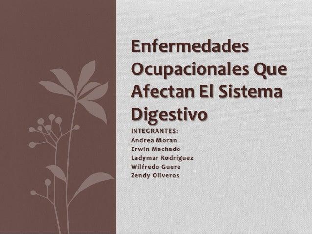 EnfermedadesOcupacionales QueAfectan El SistemaDigestivoINTEGRANTES:Andrea MoranErwin MachadoLadymar RodriguezWilfredo Gue...