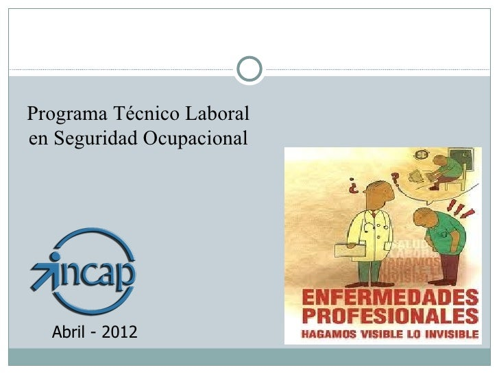 Programa Técnico Laboralen Seguridad Ocupacional  Abril - 2012