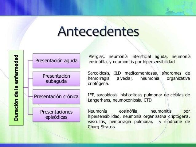 Edad IFP: Mayores de 60 años LAM, PLCH, formas heredadas de ILD: 20 – 40 años Sexo Linfangioleiomiomatosis (LAM), escleros...
