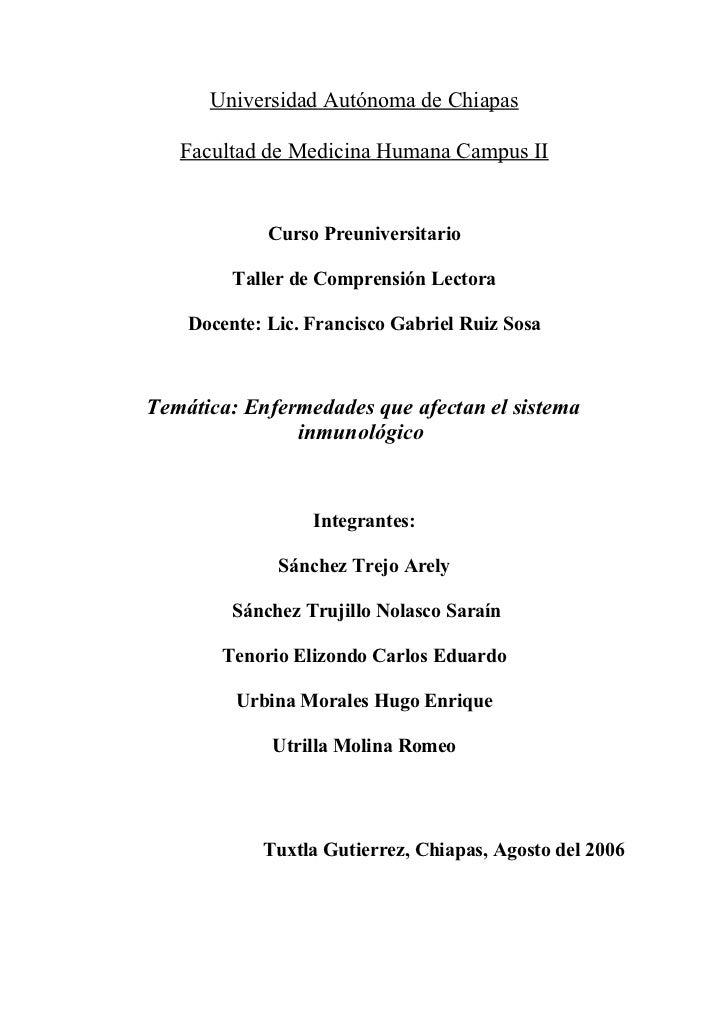 Universidad Autónoma de Chiapas     Facultad de Medicina Humana Campus II                Curso Preuniversitario           ...