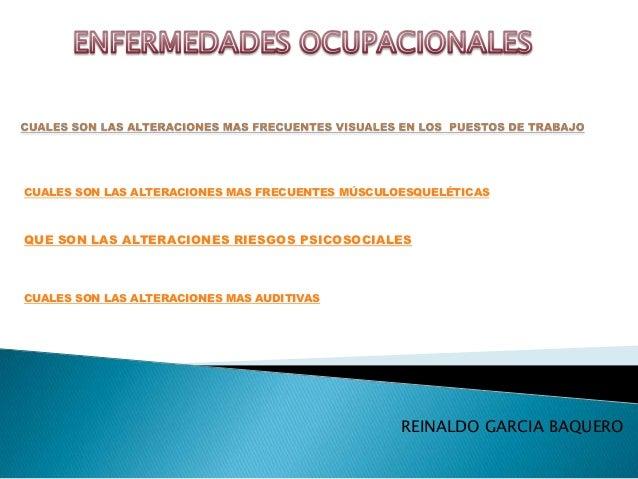 CUALES SON LAS ALTERACIONES MAS FRECUENTES MÚSCULOESQUELÉTICASQUE SON LAS ALTERACIONES RIESGOS PSICOSOCIALESCUALES SON LAS...