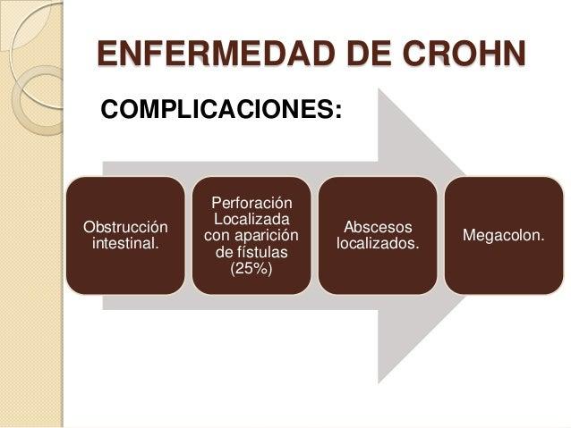 ENFERMEDAD DE CROHN COMPLICACIONES:  Obstrucción intestinal.  Perforación Localizada con aparición de fístulas (25%)  Absc...