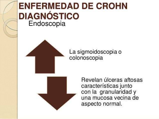 ENFERMEDAD DE CROHN DIAGNÓSTICO Endoscopia  La sigmoidoscopia o colonoscopia  Revelan úlceras aftosas características junt...