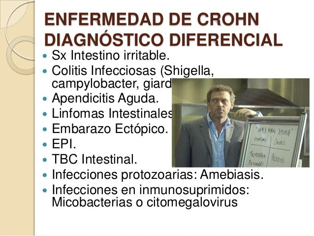 ENFERMEDAD DE CROHN DIAGNÓSTICO DIFERENCIAL Sx Intestino irritable. Colitis Infecciosas (Shigella, campylobacter, giardia)...