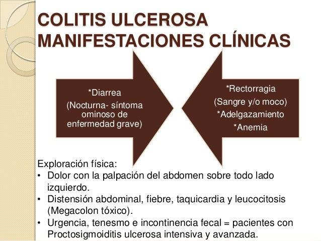 COLITIS ULCEROSA MANIFESTACIONES CLÍNICAS *Diarrea (Nocturna- síntoma ominoso de enfermedad grave)  *Rectorragia (Sangre y...