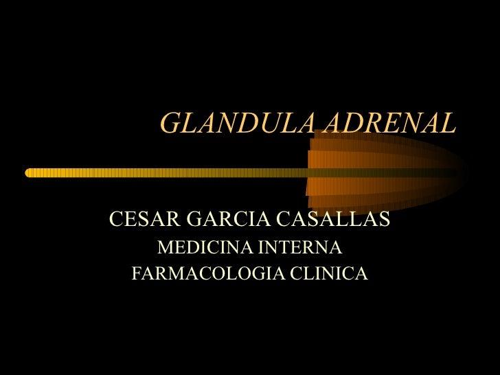 GLANDULA ADRENAL CESAR GARCIA CASALLAS MEDICINA INTERNA FARMACOLOGIA CLINICA