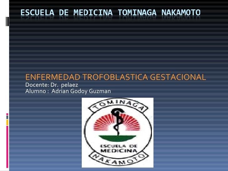 ENFERMEDAD TROFOBLASTICA GESTACIONAL Docente: Dr.  pelaez Alumno :  Adrian Godoy Guzman