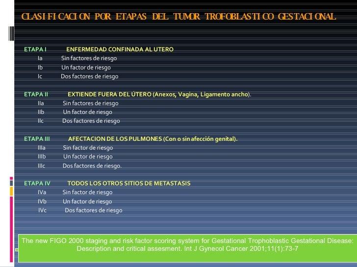 CLASIFICACION POR ETAPAS DEL TUMOR TROFOBLASTICO GESTACIONAL <ul><li>ETAPA I   ENFERMEDAD CONFINADA AL UTERO </li></ul><ul...